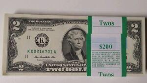 100 $2 Dollar 2013 BEP US Bills Uncirculated Sequential Strap Two Dollar Bill