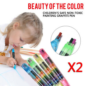 2pcs Set Paint Drawing Crayon Pen Colored Kids Diy Art Supplies