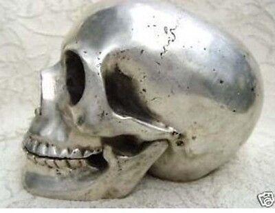 collectable Tibet silver skull framework statue