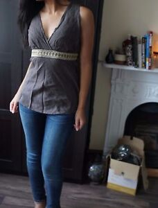 S Rinascimento By In Lace Italy Made Top With Size Brown Linen Golden q8x4apTt
