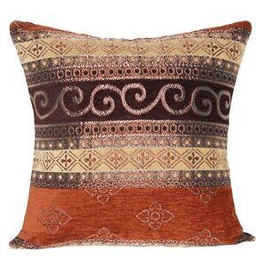 Marrone con opaco oro modello etnica tradizionale copricuscini per divano letto ebay - Copricuscini per divano ...