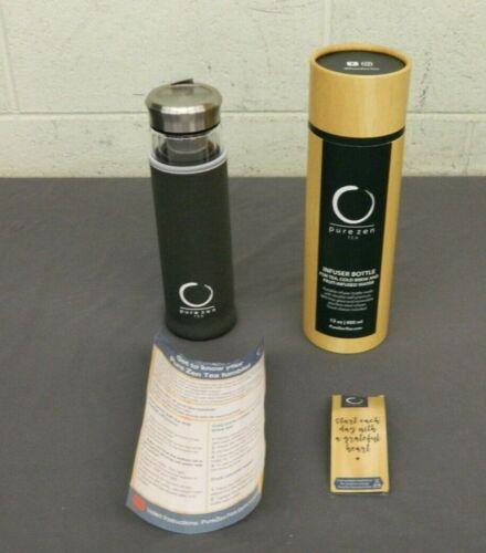 Pure Zen Tea 13 Oz BPA Free Glass Tea/Fruit   Infuser Bottle & Travel Sleeve NEW