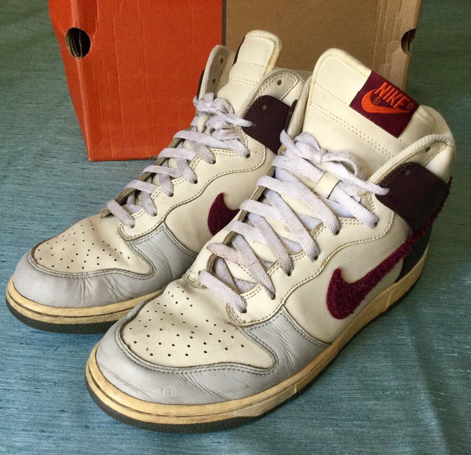 Nike Dunk High 309432 062 neutral grey/ deep garnet-sail 100%AUTHENTIC US men 12
