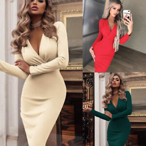 Women-V-Neck-Midi-Dress-Autumn-Winter-Long-Sleeve-Knit-Bodycon-Sweater-Jumper