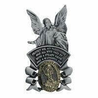 St. Christopher & Guardian Angel Auto Visor Clip, 2.5 Tall, Pewter