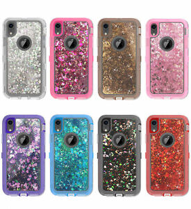 best service 993f6 e1518 Details about For iPhone XR / XS MAS Shockproof Defender Glitter Liquid  Case Fit Otterbox Clip