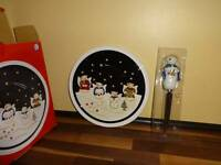 Sonoma Hand Painted Cheese & Knife Plate Christmas Holiday Winter Snowman Angels
