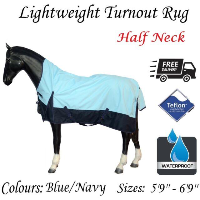 Equitack Lightweight Horse Turnout Outdoor Rug 0g Waterproof Half Neck BLUE//NAVY