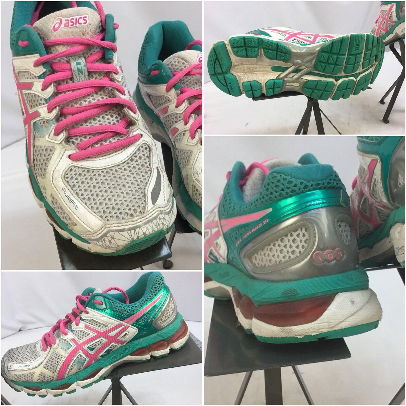 Asics Gel Kayano Pink 21 Sz 8 Women Pink Kayano Green Running Shoes EUC YGI J7 fd90fd
