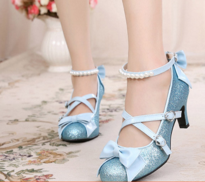 Women's Ankle Strap Bowknot Sequins Ankle Strap Round Toe Mid Heel shoes Size 8