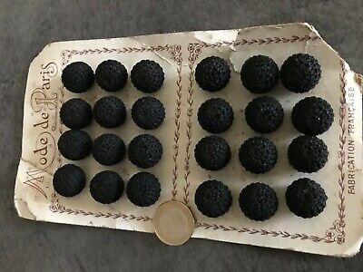 LOT 12 boutons anciens passementerie NOIR boule 15,17 mm   Made in France