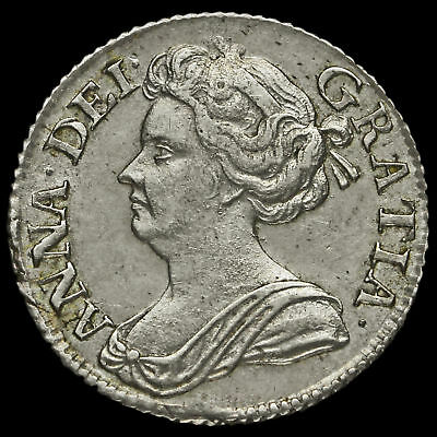 1711 Queen Anne Early Milled Silver Sixpence