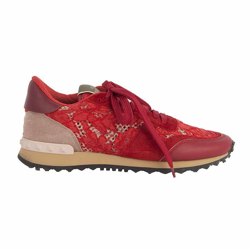 52942 auth VALENTINO red suede & LACE ROCKRUNNER Sneakers shoes 38