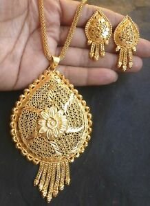 22K-Gold-Plated-Indian-16-039-039-Long-Chain-Pendant-Earrings-Bridal-Set-Necklace-f