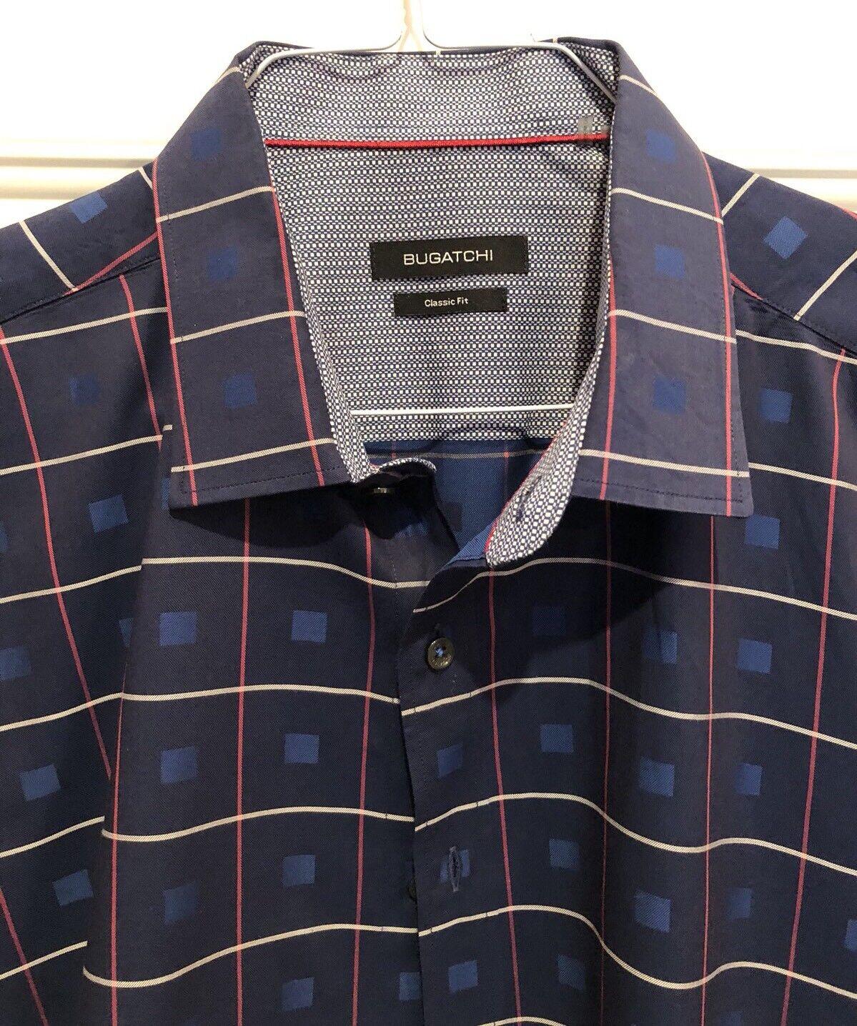Bugatchi Uomo Uomo Uomo Shirt Size XXL Classic Fit Button Down contrast Cuff 0d0937