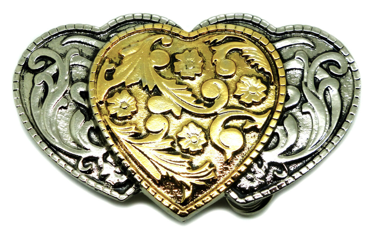3 Hearts Belt Buckle Womens Floral Western Heart Authentic White Wolf 24ct Gold
