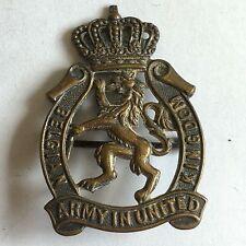 Vintage Belgian Army In United Kingdom Cap Badge / Pin / Brooch 4.3cm