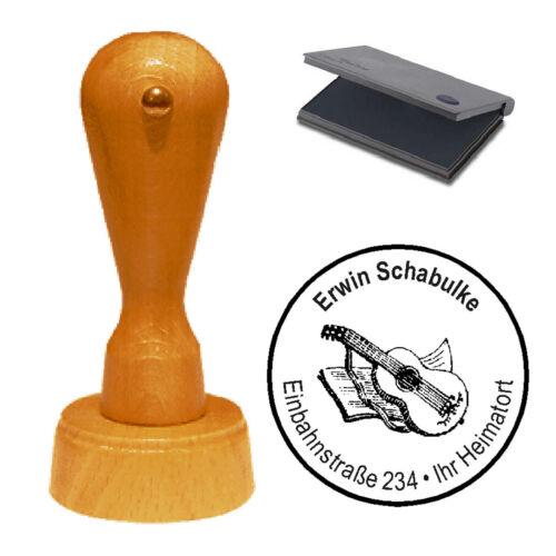 Stempel « Gitarre mit Notenbuch » Adressenstempel Motivstempel Holzstempel