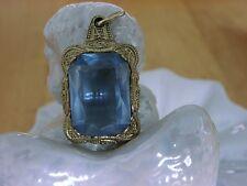 Romantischer 835 Silber Anhänger mit blauem Stein (Glas?) - leichte Vergoldung