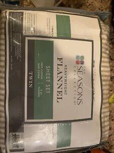The Seasons Collection Heavyweight Flannel Twin Cotton Sheet Set Ecru New