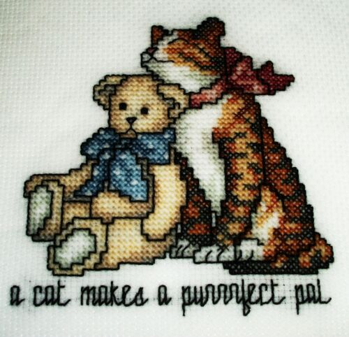 Cute Finished cross stitch pieceA Cat makes a purrfect pal
