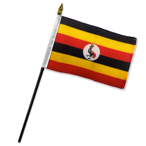 "Wholesale Lot of 6 Uganda 4/""x6/"" Desk Table Stick Flag"