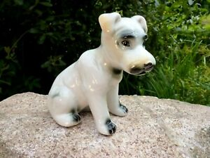 Beautiful-Old-Porcelain-Figurine-Terrier-Dog-White-13-cm-Collector-039-s-Item