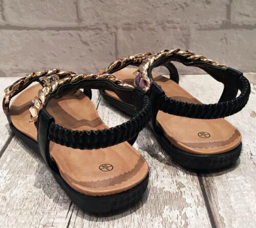 Ladies Black Gold Chain Trim Low Flat Sling Back Sandal Cruise Holiday