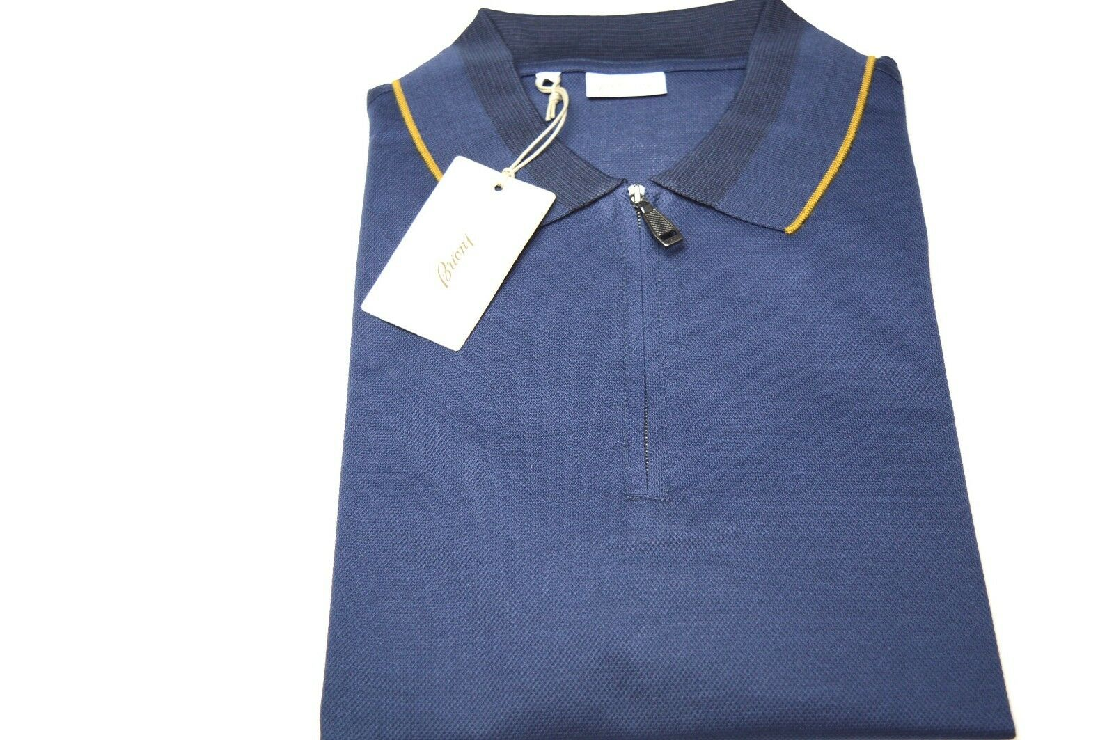 NEW  BRIONI Polo Zip  Short Sleeve Cotton Größe XL Us Eu 54 (SP34)