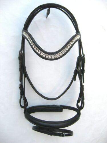Dressage Bridle Black On U Shape 3 row white Diamonte On Brow band