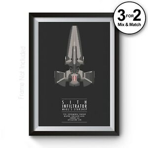 Star Wars Wall Art Print Sith Infiltrator Movie Poster Minimalist Fan Art Prints Ebay