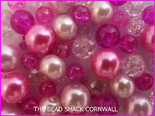 Glass Bead Mix / Bracelet Making Kit - Pink-a-licious