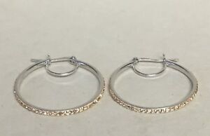 925-STERLING-SILVER-HOOP-EARRINGS-AMBER-CRYSTAL-PAVE-1-1-4-034-CRYSTALS-END-TO-END