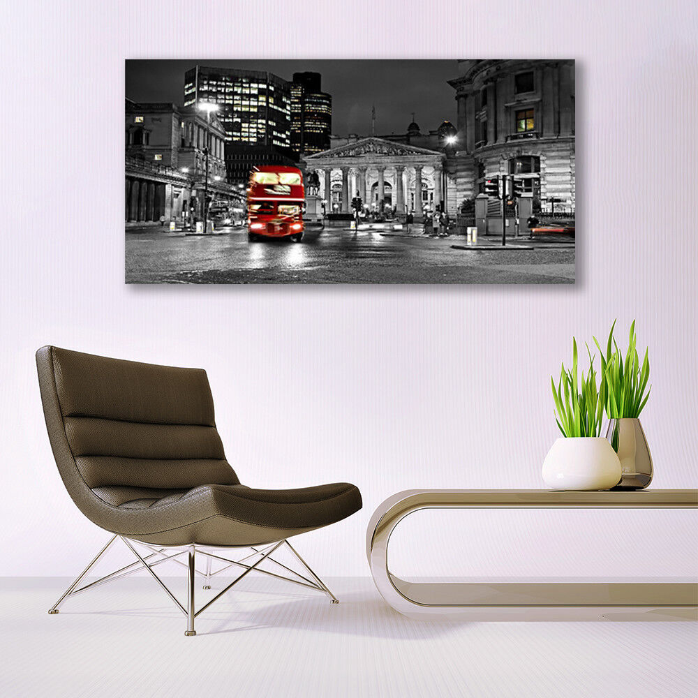 Print on on on Glass Wall art 140x70 Picture Image City Houses 02d201