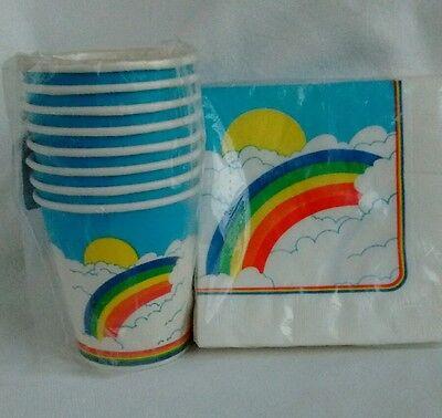 RAINBOW & SUN Vintage Paper Party Lot 20 Beverage Napkins & 8 Cups 7 Oz Hot/Cold