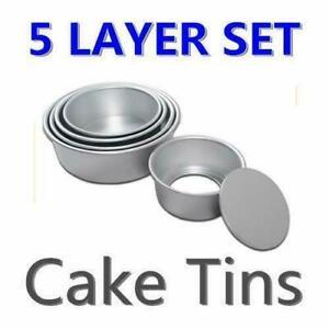 New-5-Layer-Round-Cake-Tins-Pan-Set-Party-Baking-Bake-Tray-Cooking-Kitchen