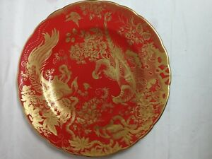 Royal-Crown-Derby-Red-Aves-Gold-Dessert-Plate-New-Marks-for-2011-7-available