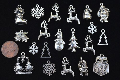 Size 14mm to 28mm 20pcs SANTA /& REINDEER CHRISTMAS HOLIDAY THEME CHARM SET