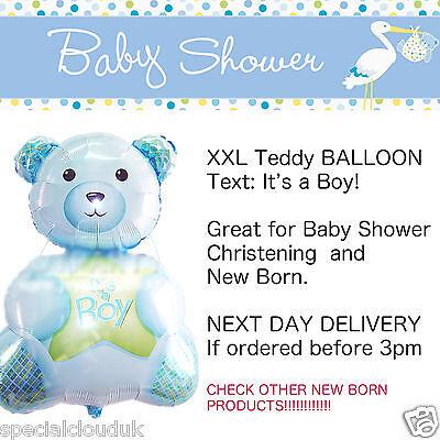 XXL TEDDY BABY BOY FOIL HELIUM BALLOON BABY SHOWER CHRISTENING DECORATION NEW