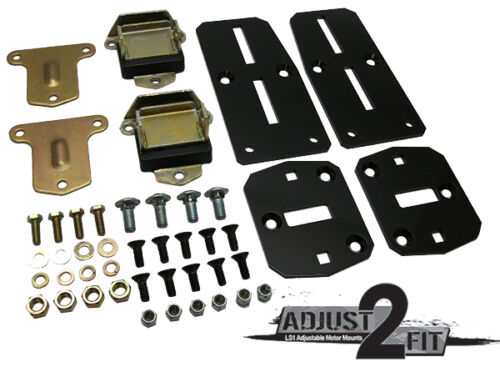 Chevy LS Engine Adapter Kit with Poly Urethane Pads Adjust-2-Fit Adjustable