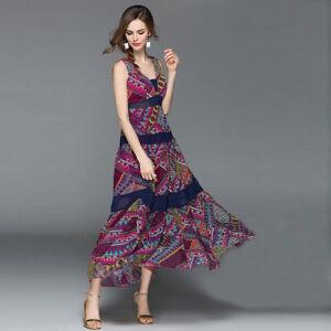 purchase cheap 4b364 cf4bb Dettagli su Elegante vestito abito lungo colorato viola scampanato slim  morbido 4332