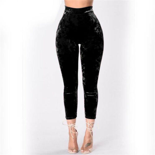 Women Velvet Stretch Skinny Elastic High Waist Slim Casual Warm Pants Trouser CB