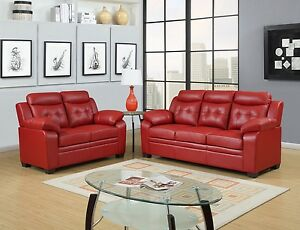 Red apartment sized casual contemporary bonded leather living room sofa love set ebay - Apartment size living room furniture ...