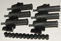 Lego Lot Of 6 Pearl Grey Pirate Ship Civil Cannons With Black Cannonballs