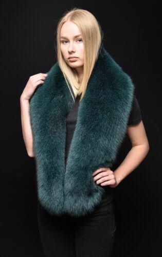 Genuine Forest Moss Green Fox Fur Handmade Stole Shawl Shoulder Wrap Boa