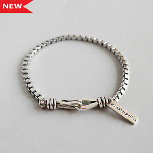 NEW-3mm-Retro-Womens-Genuine-S925-Sterling-Silver-Box-Chain-Bracelet