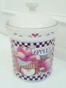 SUSAN-WINGET-Apples-Ceramic-Cookie-Jar-Made-in-Thailand-UNUSED