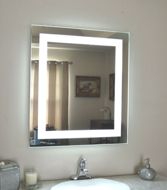 Front Lighted Led Bathroom Vanity Mirror 28 X 32 Rectangular