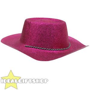 PINK GLITTER COWBOY HAT ADULTS COWGIRL WESTERN WILD WEST FANCY DRESS ... e53ad6327b80