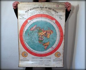 New Map Of Earth.Flat Earth 40 X28 Pvc Weatherproof Gleason S New Standard Map